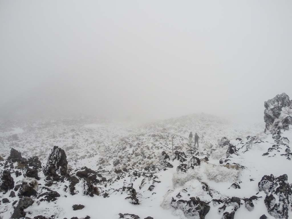 Brouillard au Tongariro Alpine Crossing