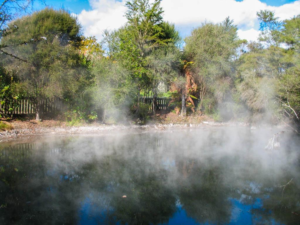 Plan d'eau en vapeur à Rotorua