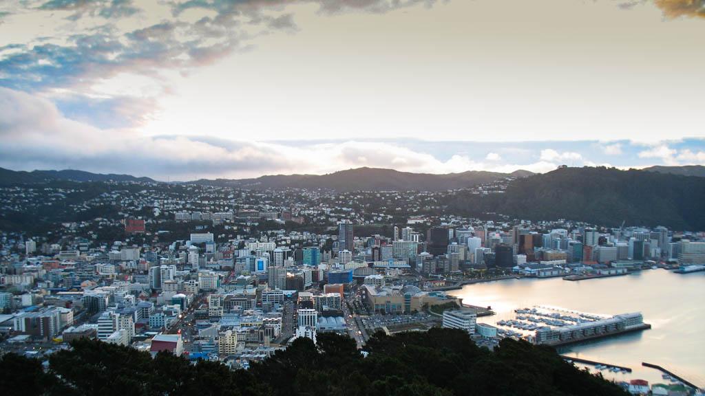 Wellington vu du Mont Victoria au coucher de soleil
