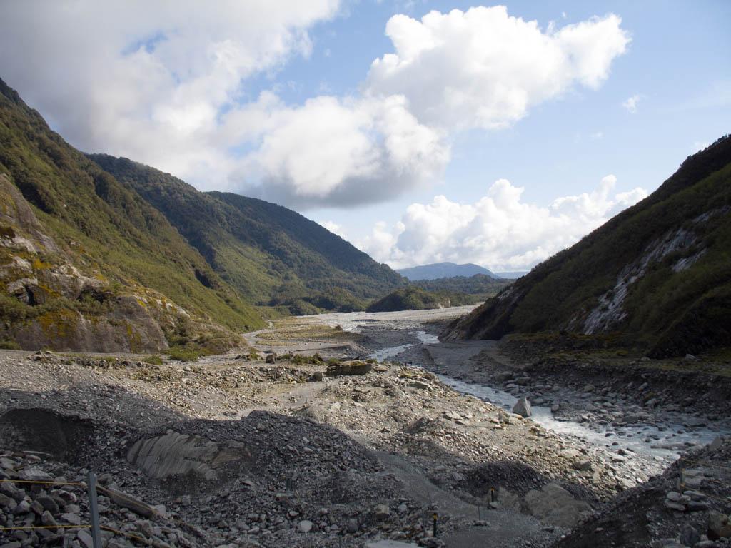 Vue de la vallée depuis le Franz Josef Glacier