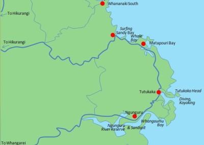 Carte plages tutukaka