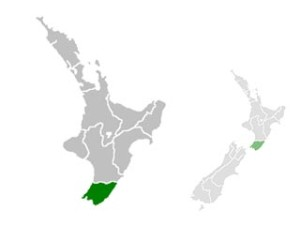 Carte de la région de Wellington