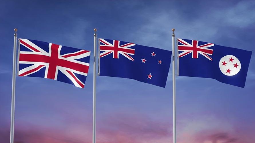 Trois drapeaux pour la Nouvelle-Zélande