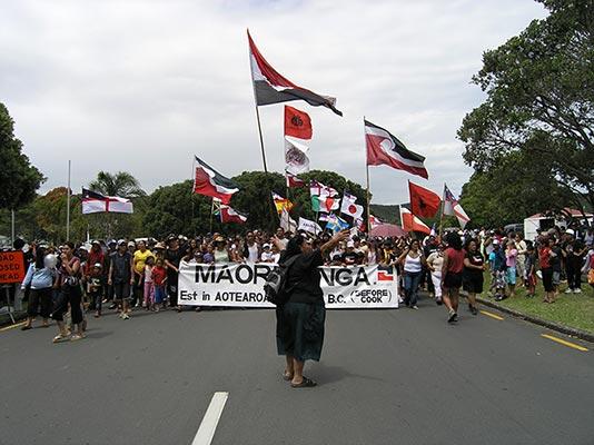 Protestations des Maoris pendant le Waitangi Day