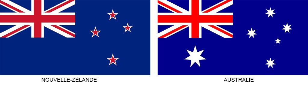 Drapeaux de la Nouvelle-Zélande et de l'Australie