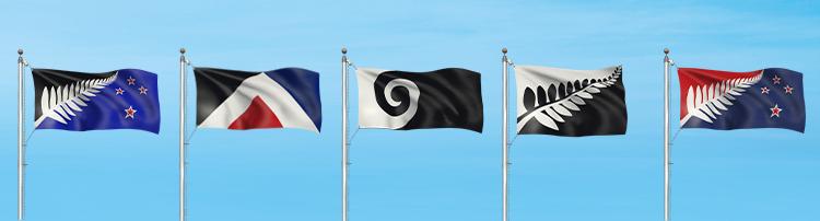 Les 5 drapeaux alternatifs - Nouvelle-Zélande
