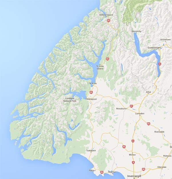 Carte du Fiordland en Nouvelle-Zélande