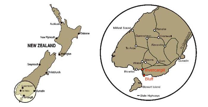 Carte d'Invercargill et Bluff dans l'île du sud