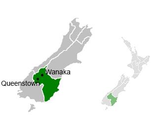 Emplacement de Queenstown et Wanaka