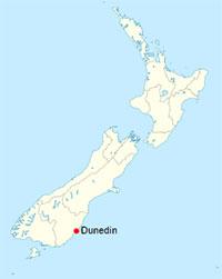 Dunedin en Nouvelle-Zélande - Carte