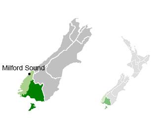 Emplacement du Fiordland et de Milford Sound