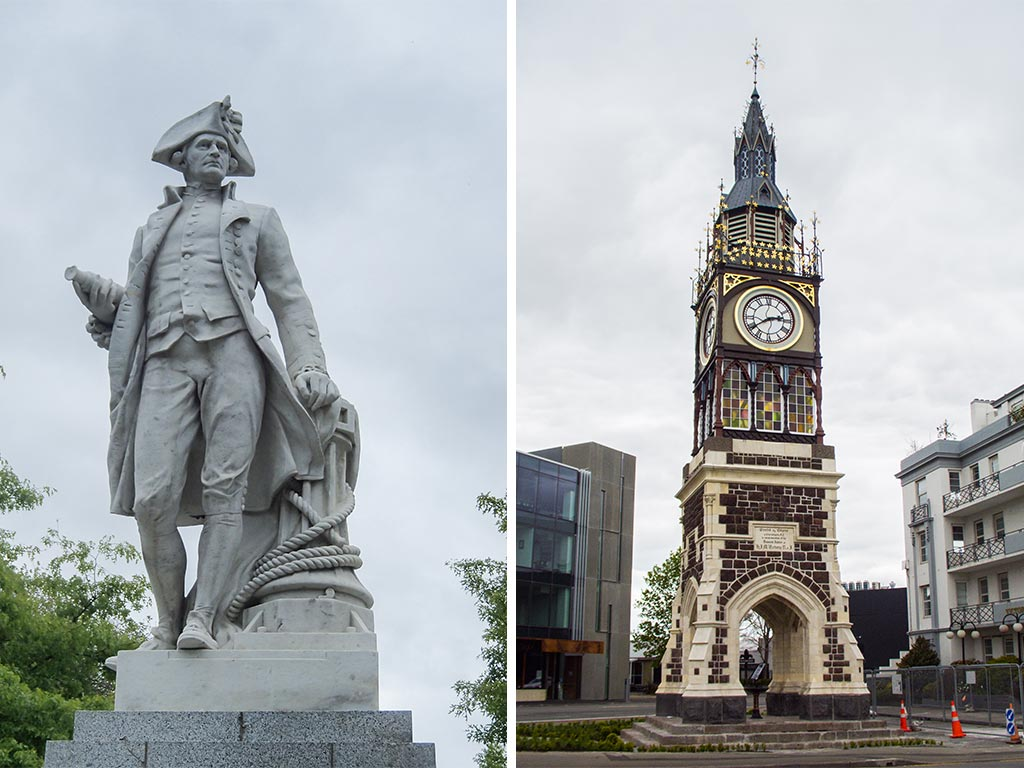 James Cook Statue et Victoria Clock Tower - Christchurch