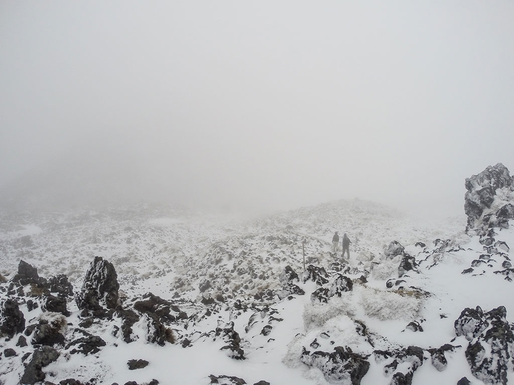 Tongariro Alpine Crossing - Ascension dans la neige